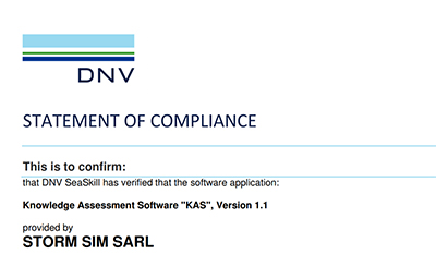 "STORM SIM's Knowledge Assessment Software ""KAS"" is Certified by DNV and Available Now"